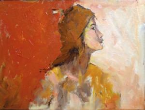 Paintings orange woman