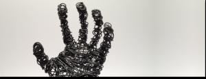 wire sculpture hand banner
