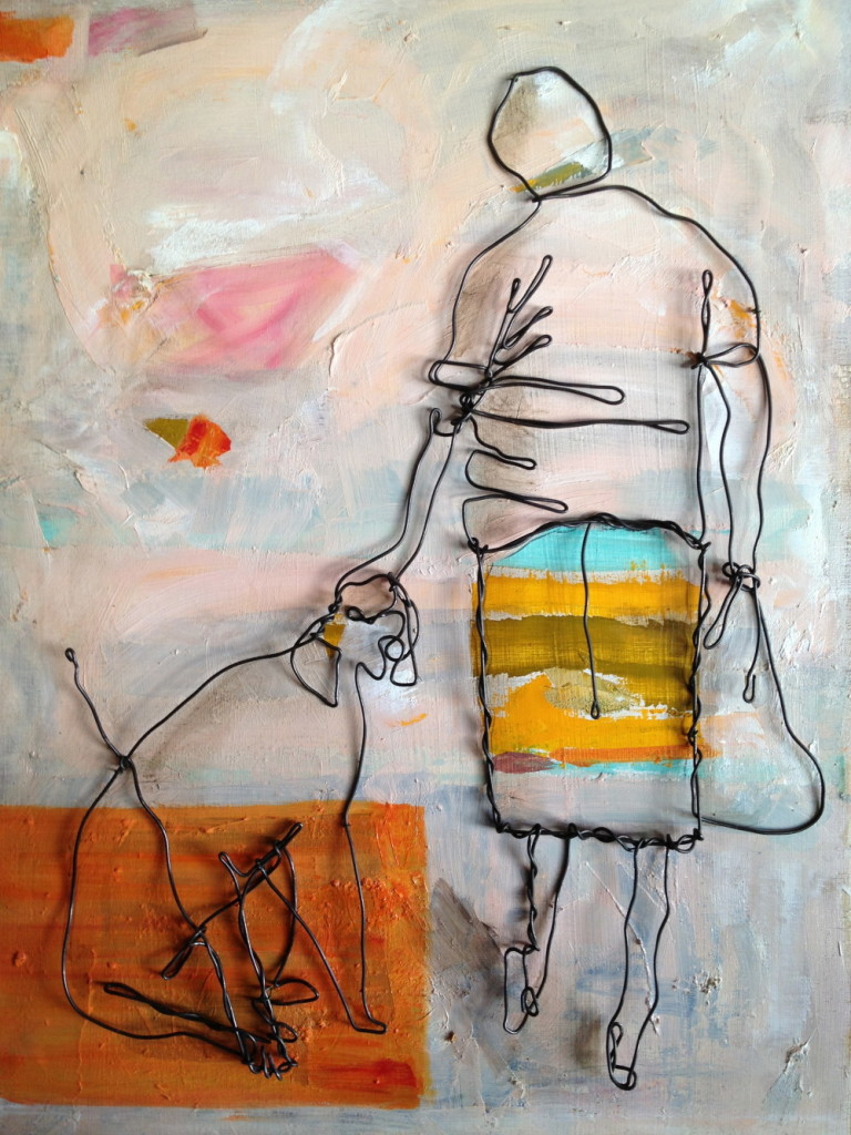 Wire art painting Woman with dog