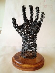 wire art sculpture hand