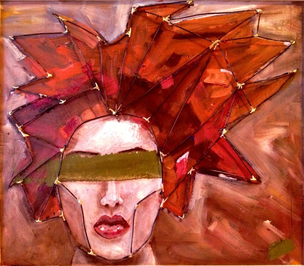 Red Fashon metal wire woman study