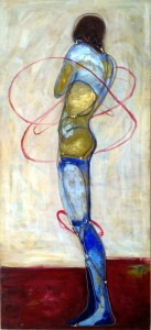 Oil painting with wire overlay. wire painting