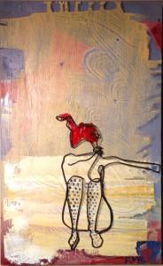 sock lady -wire art