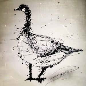 Baleful Goose - drip painting