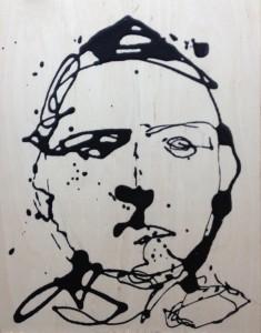 Frank M Baker Self portrait Drip painting