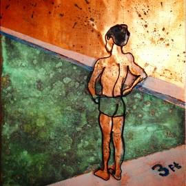 Copper pool boy: wire art on copper : Baker
