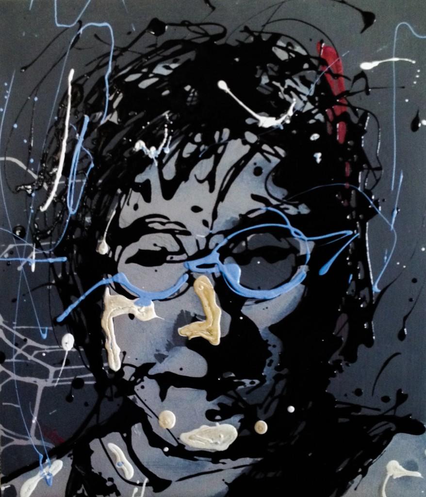 John Lennon Drip Painting by Frank M Baker