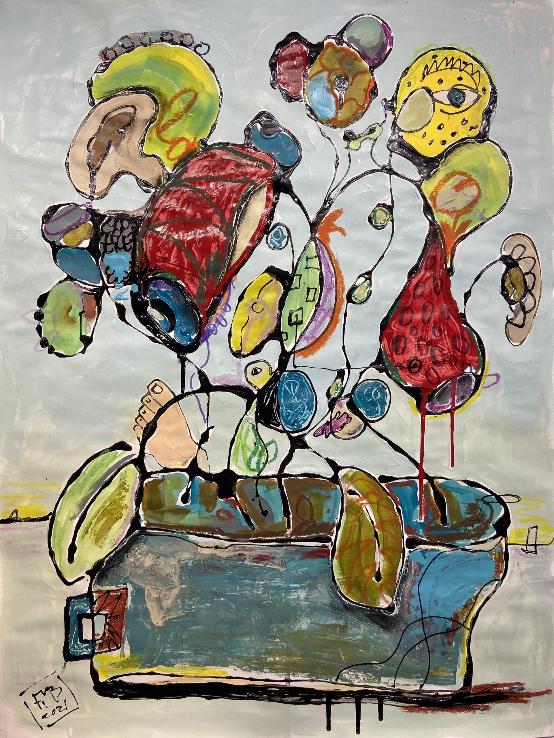 Abstract Flowers Frank Marino Baker art painting