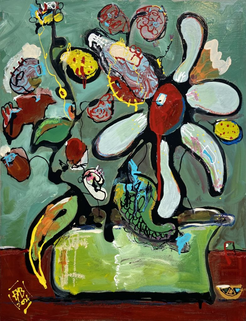 Abstract Flowers Frank Marino Baker art painting Green